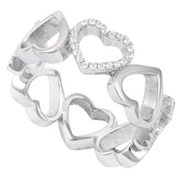 Sterling Silver Eternity Heart CZ Ring