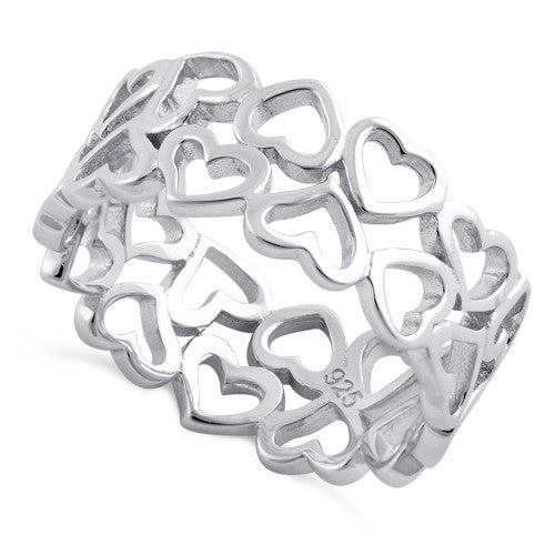 Sterling Silver Eternity Hearts Ring
