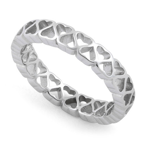 Sterling Silver Eternity Hollow Hearts Ring