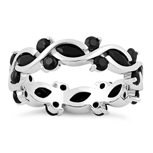 Sterling Silver Eternity Marquise Round Black CZ Ring