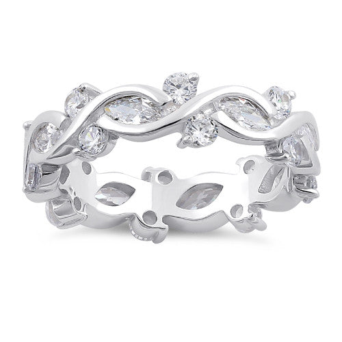 Sterling Silver Eternity Marquise Round Clear CZ Ring