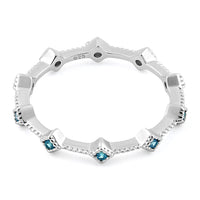 Sterling Silver Eternity Thin Aqua Blue CZ Ring