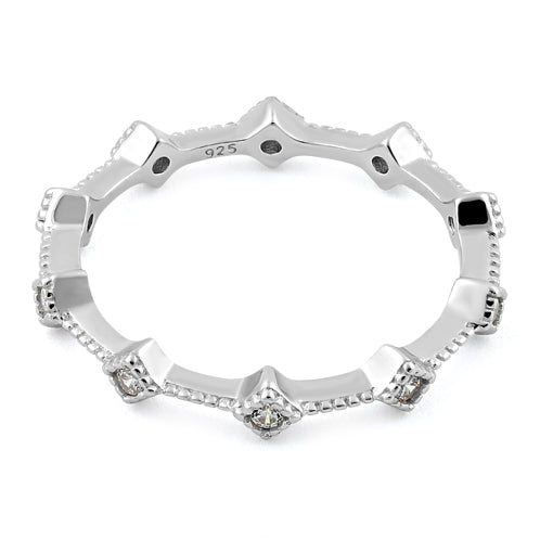 Sterling Silver Eternity Thin Clear CZ Ring