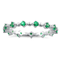Sterling Silver Eternity Thin Emerald CZ Ring