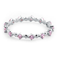 Sterling Silver Eternity Thin Pink CZ Ring