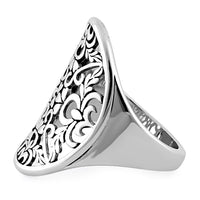 Sterling Silver Extragant Hearts & Vines Ring