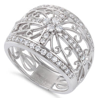 Sterling Silver Extravagant Cage Pave CZ Ring