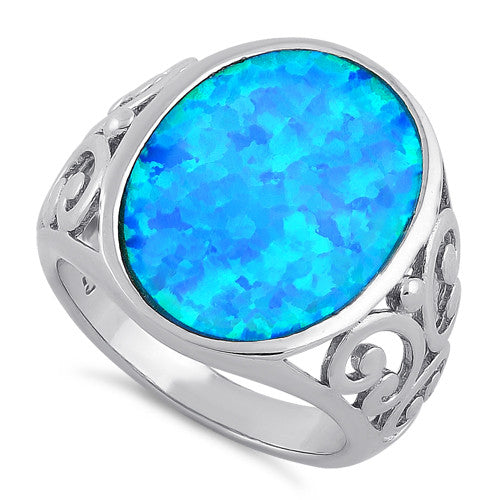 Sterling Silver Extravagant Lab Opal Swirl Ring