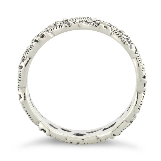 Sterling Silver Eye Marquise Eternity Marcasite Ring