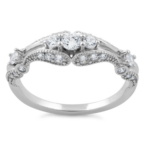 Sterling Silver Filigree Clear CZ Ring