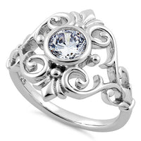Sterling Silver Fleur-de-lis Vines Clear CZ Ring