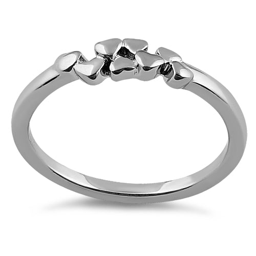 Sterling Silver Floating Hearts Ring