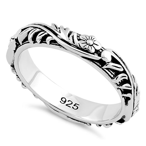 Sterling Silver Floral 3.5mm Band Ring