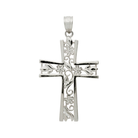 Sterling Silver Floral Cross Pendant