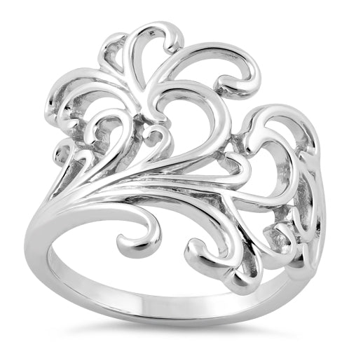 Sterling Silver Floral Swirls Ring