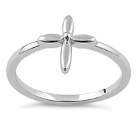 Sterling Silver Flower Cross Ring