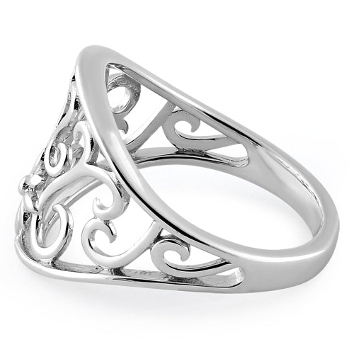 Sterling Silver Flower & Curly Vines Ring