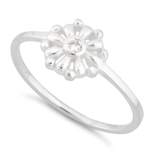 Sterling Silver Flower CZ Ring