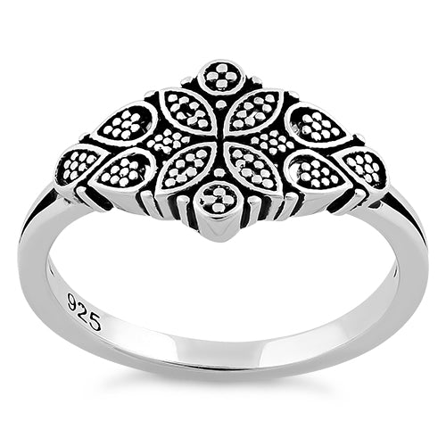 Sterling Silver Flower Dotted Ring