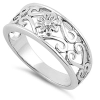 Sterling Silver Flower & Hearts Ring