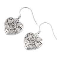 Sterling Silver Flowered Heart Hook Earrings