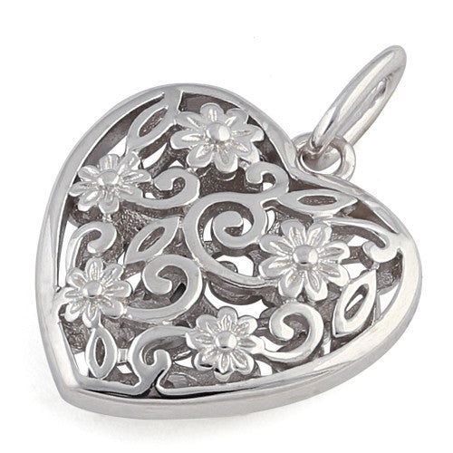 Sterling Silver Flowered Heart Pendant
