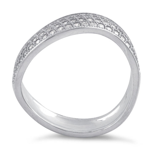 Sterling Silver Freeform Pave CZ Ring