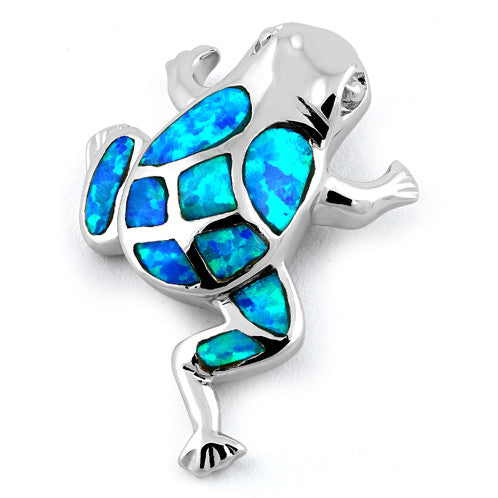Sterling Silver Frog Blue Lab Opal Pendant
