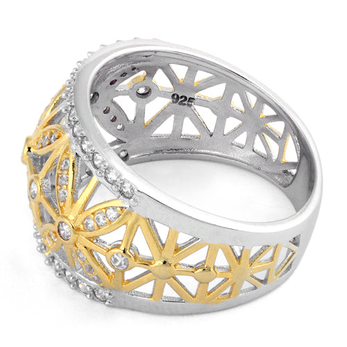 Sterling Silver Gold Two Tone Flower Caged CZ Ring