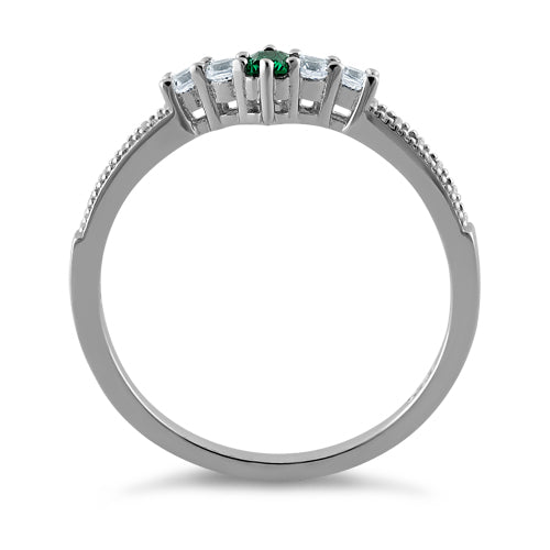 Sterling Silver Emerald CZ Ring