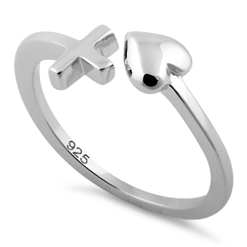Sterling Silver Heart and Cross Adjustable Ring