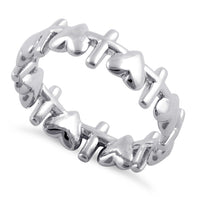 Sterling Silver Heart and Cross Pattern Eternity Ring