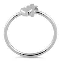 Sterling Silver Heart Cross Ring
