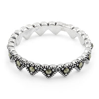 Sterling Silver Heart Eternity Marcasite Ring