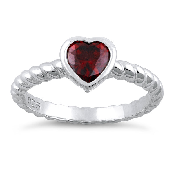 Sterling Silver Heart Garnet CZ Ring