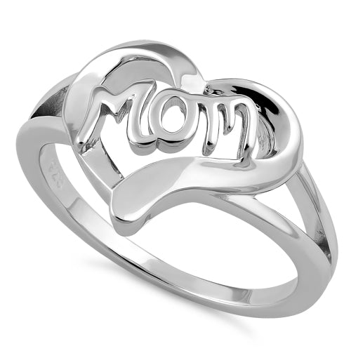 Sterling Silver Heart Mom Ring