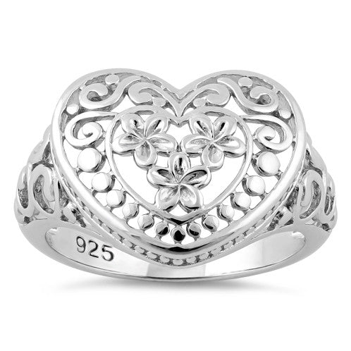 Sterling Silver Heart Plumeria Ring