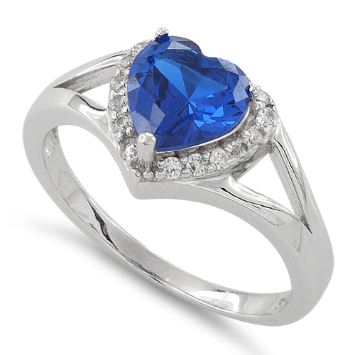 Sterling Silver Heart Shape Blue Sapphire CZ Ring