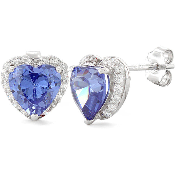 Sterling Silver Heart Shape Tanzanite CZ Earrings