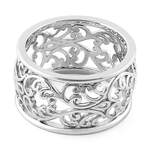 Sterling Silver Heart Vines Eternity Ring