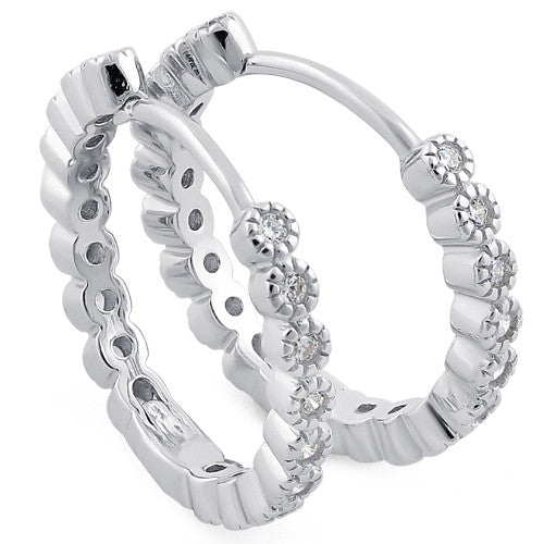 Sterling Silver Hoops Clear CZ Earrings