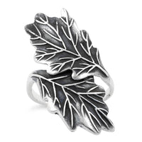 Sterling Silver Hugging Leaves Ring