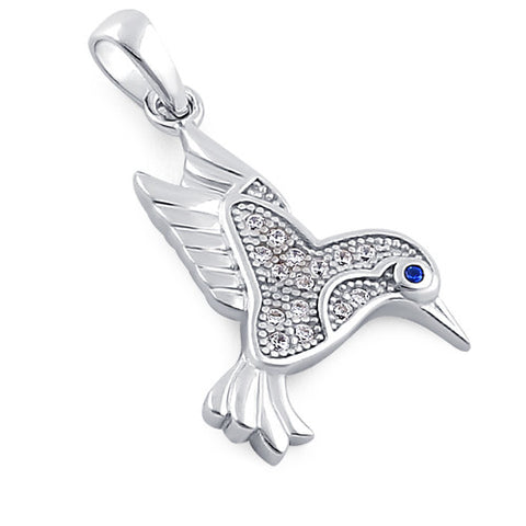 Sterling Silver Hummingbird Blue & Clear CZ Pendant