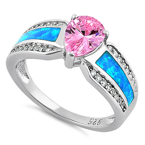 Sterling Silver Illustrious Blue Lab Opal & Pink Pear Cut & Clear CZ Ring