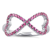 Sterling Silver Infinity Heart Pink CZ Ring