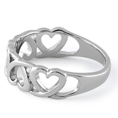 Sterling Silver Interwoven Hearts Ring