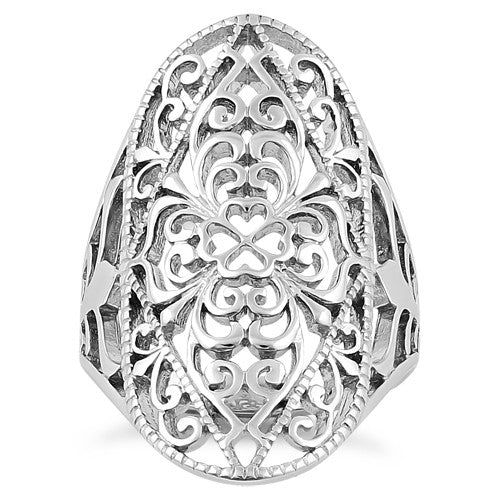 Sterling Silver Intricate Hearts & Vines Ring