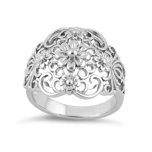 Sterling Silver Intricate Flowers Ring