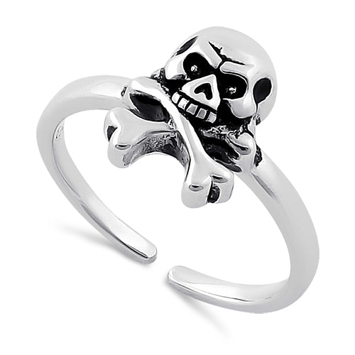 Sterling Silver Jolly Roger Skull Toe Ring