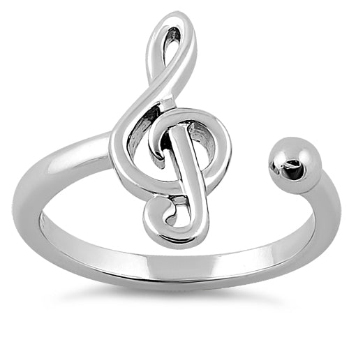 Sterling Silver Treble Clef Music Note Ring